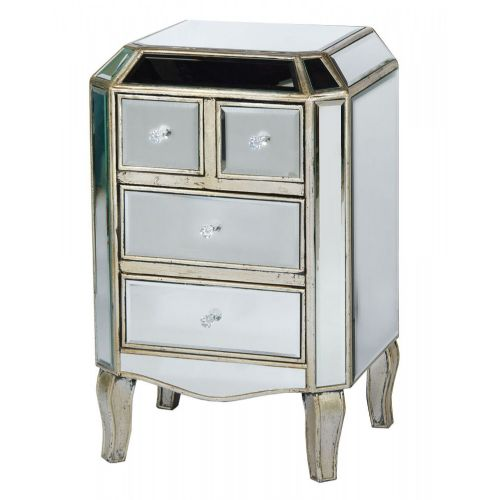 Vintage Venezia Antique Silver Mirrored 4 Drawer Side Cabinet